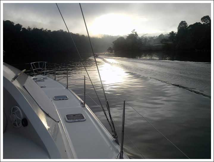 Early Morning Fog on the Rio Dulce -- Heading Back to the Ocean