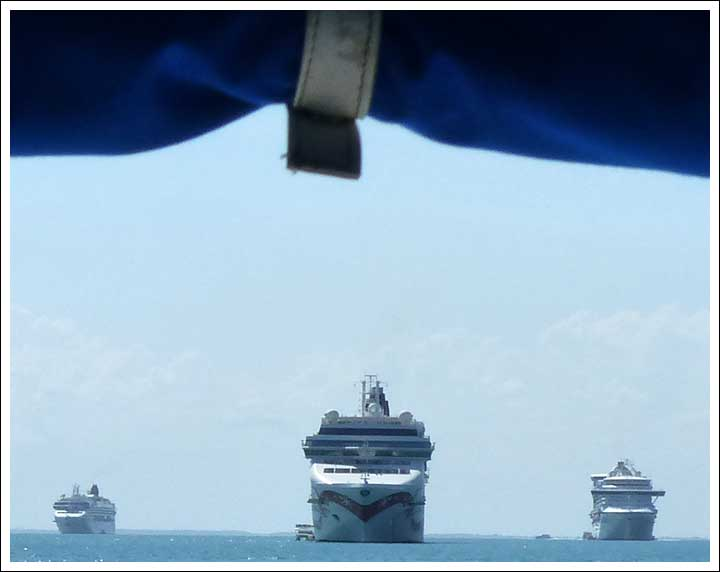 Dodging Cruise Ships Off Belize City