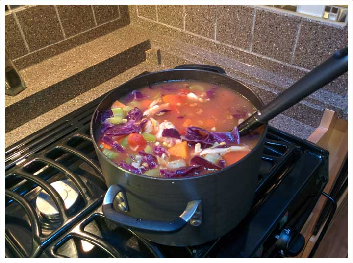 Makin' Mom's Vegetable Cabbage Soup in my New Pans in the RV