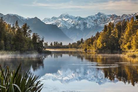 Lake Matheson's Famous Reflection View