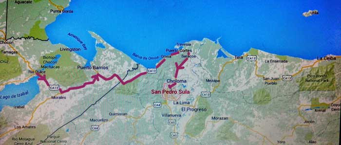 Trip from Rio Dulce to San Pedro Sula in Honduras