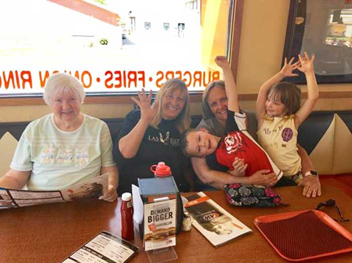 Celebrating Hayden's Soccer Win with Dorothy, Cindy, and Halle