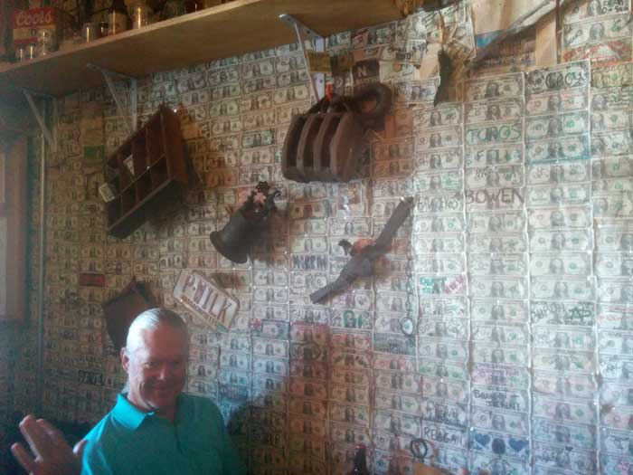Dollar-Bill Wallpaper at Tortilla Flats