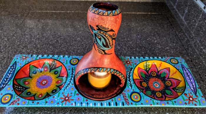 First Attempt at Gourd Art, And It Fits in my Painted Tray from Panajachel Guatemala